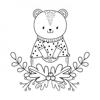 Schattige beer bos karakter