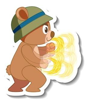 Schattige beer cartoon met hoed sticker zijaanzicht