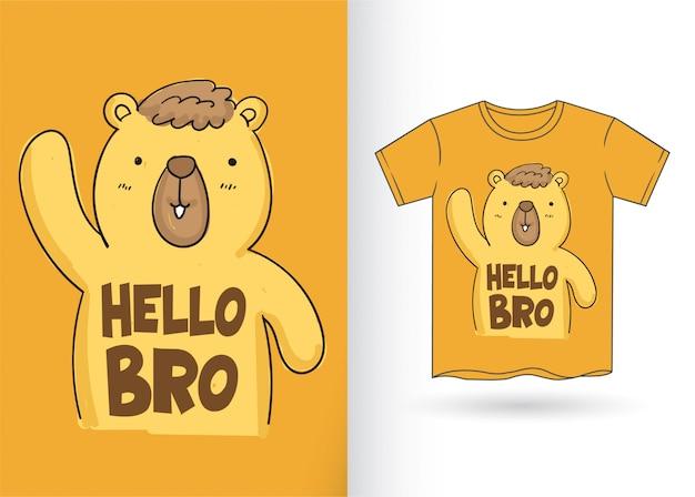 Schattige beer cartoon voor t-shirt