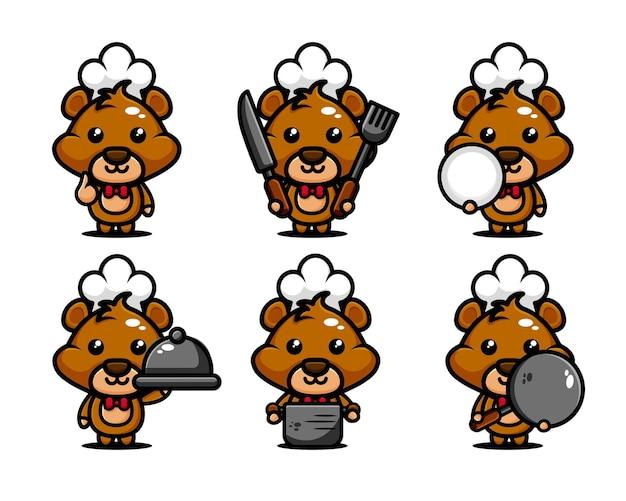 Schattige beer chef-kok karakter ontwerpset met kookgerei