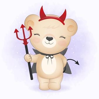 Schattige beer die halloween-kostuum draagt en halloween-illustratie met drietand vasthoudt