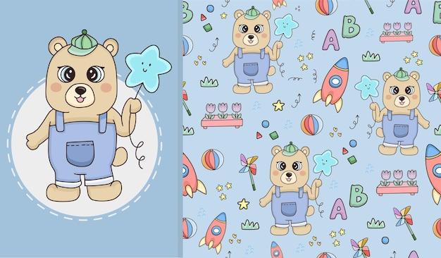 Schattige beer dier en naadloos patroon