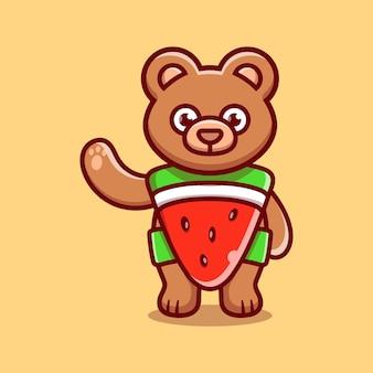 Schattige beer draagt kostuum watermeloen