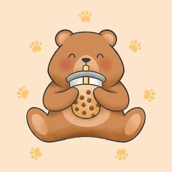 Schattige beer eet bubble melk thee cartoon hand getekende stijl