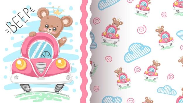 Schattige beer en auto idee voor print t-shirt