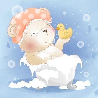 Schattige beer en ducky zijn aan het douchen