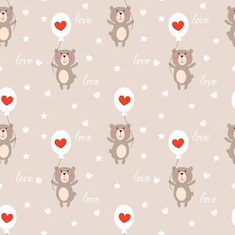 Schattige beer en hart ballon naadloze patroon.