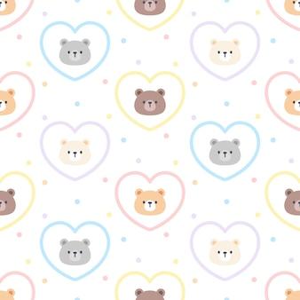 Schattige beer en hart naadloze achtergrond herhalend patroon, wallpaper achtergrond, schattige naadloze patroon achtergrond