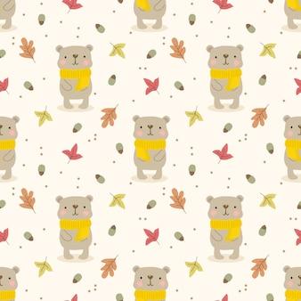 Schattige beer en herfstbladeren naadloze patroon.