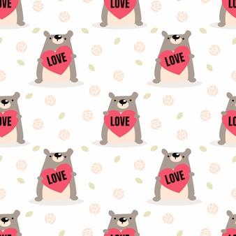 Schattige beer en liefde naadloze patroon.