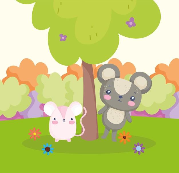 Schattige beer en muis