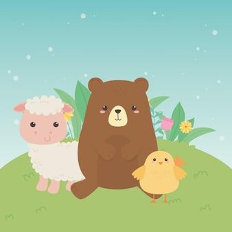 Schattige beer en schapen en kuiken dieren boerderij karakters