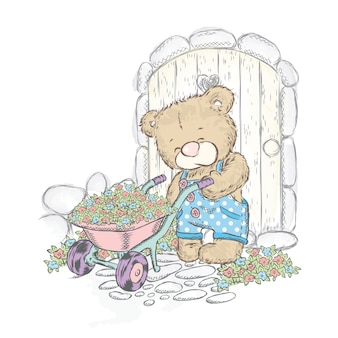 Schattige beer en trolley met zaailingen. draag in de tuin.