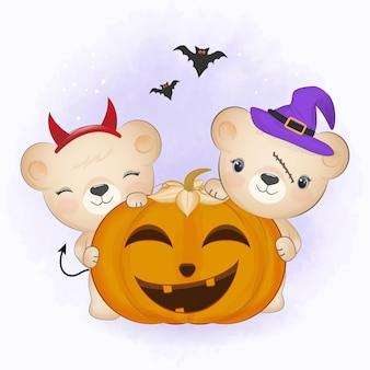 Schattige beer en vleermuis met pompoen en met de hand getekende cartoon dierlijke halloween illustratie