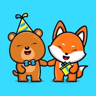 Schattige beer en vos op verjaardagsfeestje dier vriend cartoon afbeelding