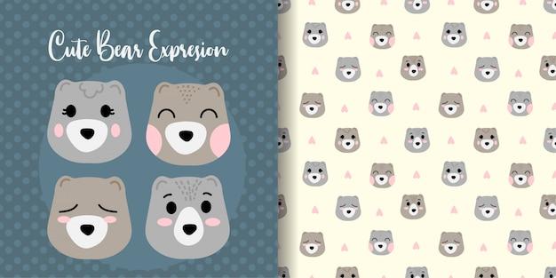 Schattige beer gezicht dier naadloze patroon met baby kaart
