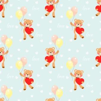 Schattige beer houdt een groot hart naadloos patroon.