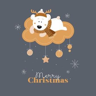 Schattige beer in een hoed op een wolk