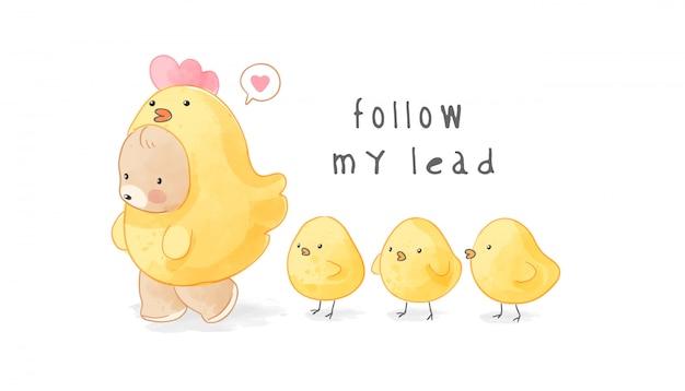 Schattige beer in gele kippenkostuum gevolgd door baby chiks illustration