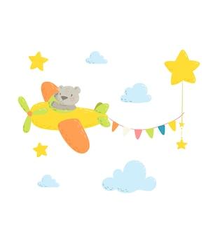 Schattige beer in het vliegtuig.