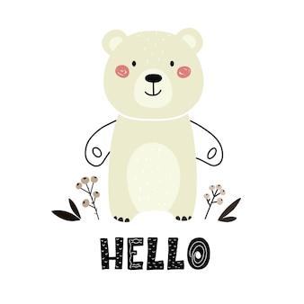 Schattige beer in scandinavische stijl met de woorden hello