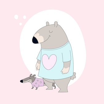 Schattige beer in t-shirt en teckel.