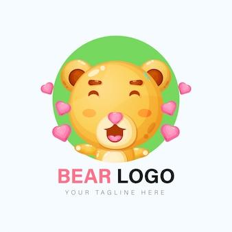 Schattige beer logo ontwerp