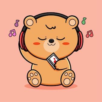 Schattige beer luister muziek vectorontwerp