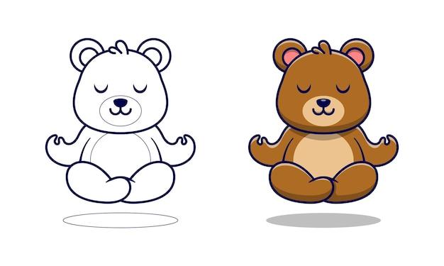 Schattige beer mediteert cartoon kleurplaten voor kinderen