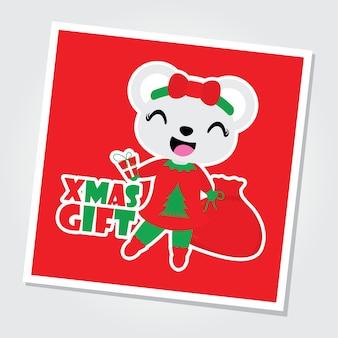 Schattige beer meisje brengt kerstcadeau tas