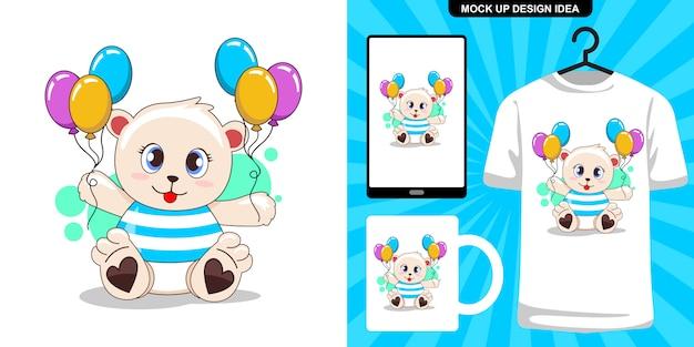 Schattige beer met ballonillustratie en merchandising