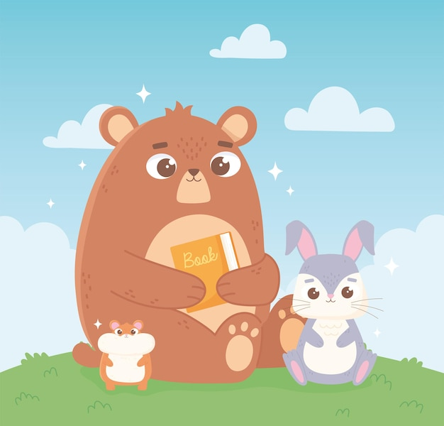 Schattige beer met boek en konijnendieren in het veld