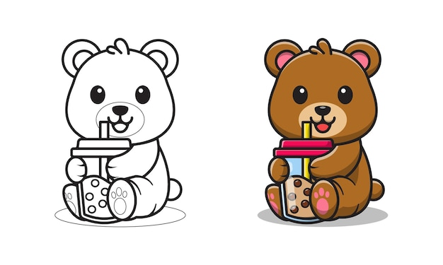Schattige beer met bubble tea cartoon om in te kleuren
