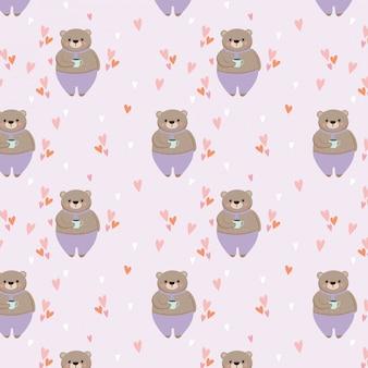 Schattige beer met cup cartoon naadloze patroon