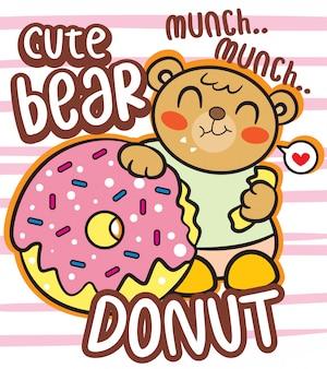 Schattige beer met donut cartoon voor t-shirt