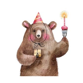 Schattige beer met een taart en een geschenk in een feestelijke pet wenst gelukkige verjaardag. handgetekende illustratie geïsoleerd op een witte achtergrond.