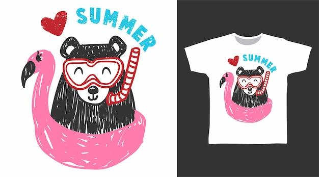 Schattige beer met flamingo t-shirt design