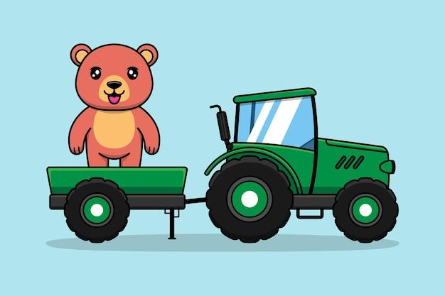 Schattige beer met groene tractor