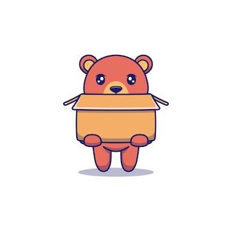 Schattige beer met groot karton