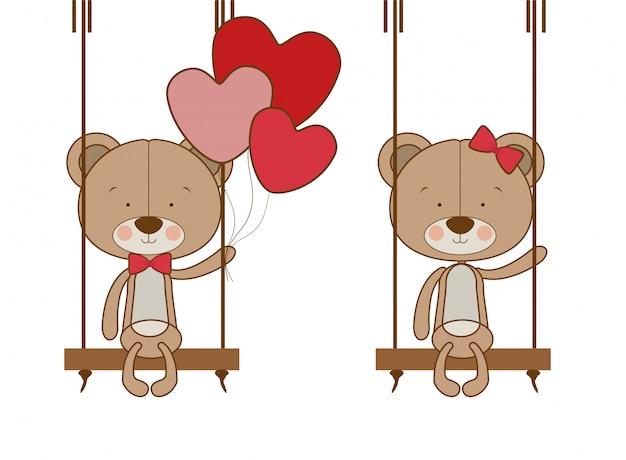 Schattige beer met heliumballonnen