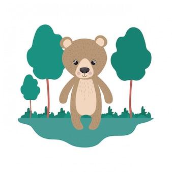 Schattige beer met landschap