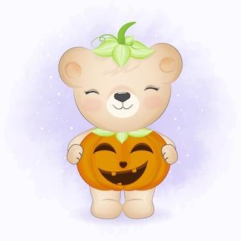 Schattige beer met pompoen kostuum hand getekende cartoon dierlijke halloween illustratie