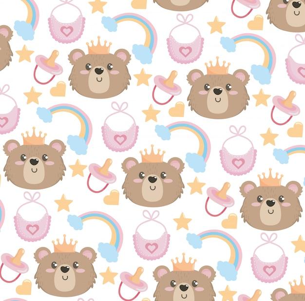 Schattige beer met regenboog en slabbetje patroon