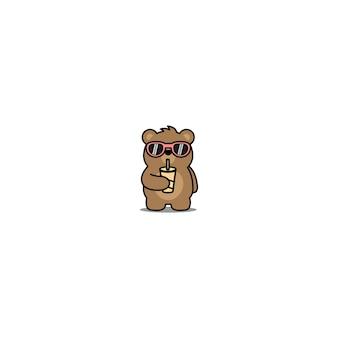 Schattige beer met zonnebril drinkwater cartoon