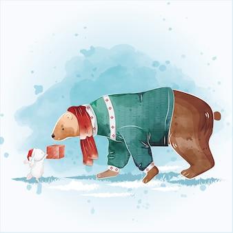 Schattige beer ontvangt een kerstcadeau