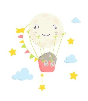 Schattige beer op hete luchtballon