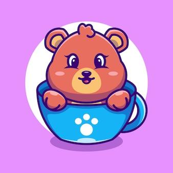 Schattige beer op kopje koffie cartoon