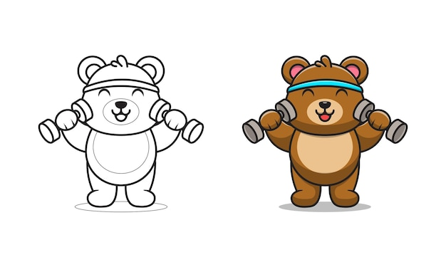 Schattige beer opheffing barbell cartoon om in te kleuren