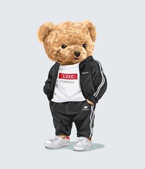 Schattige beer pop in sport mode trainingspak illustratie