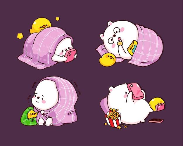 Schattige beer slapen in deken karakter cartoon afbeelding